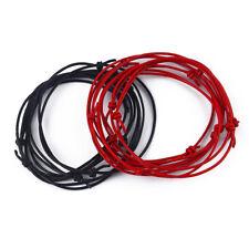 2pcs Red/Black Leather Cord Lucky Bracelet Anklet Adjustable For Men Women Surf