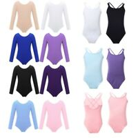 UK Kids Girls Ballet Leotard Jumpsuits Gymnastics Dancewear Bodysuits Costumes