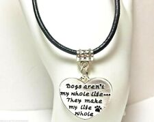 """Dog Heart Necklace """"Dogs Make My Life Whole"""" Silver Plated Pendant"""