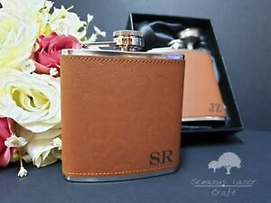 6oz Leather personalised Hip Flask.Bridal party Gifts with box choice LF87
