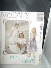 McCALLS GIRLS DRESS SIZE 7 - 8 - 10 UNCUT PATTERN 4894 COMMUNION - WEDDING