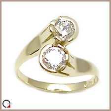 Lady's Ring Yellow Gold 18 Carats Backwords with Zircons Bright Gemstones