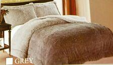 """Jumbo King 89x96 3 piece faux fur bed set  2"""" fur n sherpa 2 side gray w shams"""