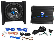 "Rockville RV8.1A 400w 8"" Loaded Car Subwoofer Enclosure+Mono Amplifier+Amp Kit"