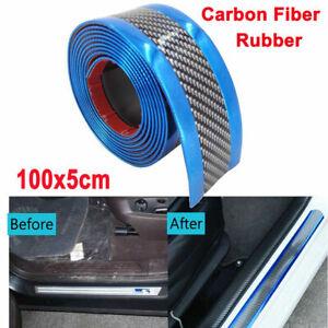 5CM*1M Car Sticker Carbon Fiber Rubber Door Sill Protector Edge Guard Strip Blue
