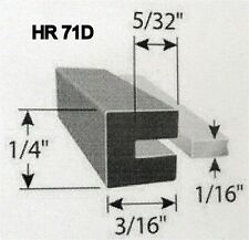 """1/16"""" Rubber Edge Trim HR71D SOLD BY THE FOOT in Black U Channel EPDM"""