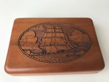 NAUTICAL WOOD SAILBOAT CUSTOM STORAGE GAME BOX WITH CARDS WOODEN SCHOONER BOAT