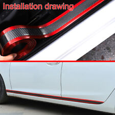 Red Car Door Sill Scuff Plate Carbon Fiber Pedal Protector Strips Accessories