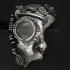Black Silver Steampunk Half Face Prom Costume Party Masquerade Mask
