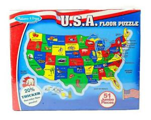 Melissa & Doug USA Map Large Floor Puzzle 2x3' Ages 6 & Up 51 Jumbo Pieces New!