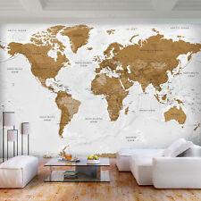 VLIES FOTOTAPETE Kontinent braun Weltkarte grau TAPETE Wohnzimmer WANDBILDER XXL