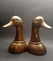 Vintage Leonard heavy solid brass mallard duck book bookends Free Fast Ship