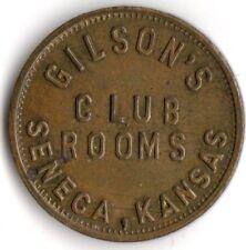 SENECA KANSAS GILSON'S CLUB ROOMS 5¢  MERCHANT GOO FOR TRADE TOKEN