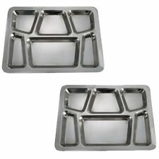 Set Of 2-6 Compartment Cafeteria Food Court Tray Eating Mess Stainless Steel
