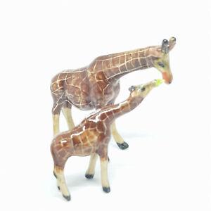 Miniature Ceramic Giraffe Figurine - Mother & Calf 2 Pieces