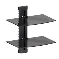 Black Glass DVD Shelves Shelf 2 Tier SKY Game Concole Ampifier Player Virgin Box