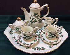Children's Miniature Tea Set Holly Berry Christmas Platter Porcelain Complete