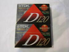 TWO VINTAGE TDK D120 HIGH OUTPUT CASSETTE TAPES - 120 MINUTES - NEW OLD STOCK