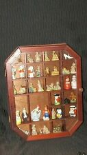 WALL CABINET FILLED W/MINI COLLECTIBLES/TOBY JUGS-WADES-30 YRS.COLLECTION