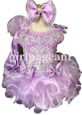 Infant/toddler/baby lilac Pageant beading Dress G011A