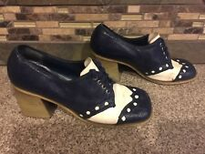 Vintage Women's Di Orsini Originals Sz 8 50S Block Heel Navy/White Wingtip Shoes