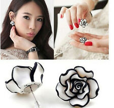 Fashion Women's Black White Rose Flower Charms Lucky Ear Stud Earrings Pierced