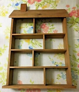 VINTAGE WOOD SELF FOR MINIATURES HOUSE SHAPE WITH 8 COMPARTMENTS