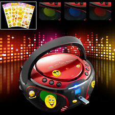 Bluetooth USB Stereo Musik Anlage CD Player Kinder Zimmer Party Smiley Aufkleber
