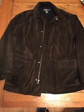 Mens Brown Suede Polo Ralph Lauren Jacket Car Coat Size Large