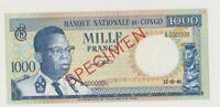 CONGO  P 8  SPECIMEN  1.000  FRANCS  15.10.1961  KASAVUBU  AU/UNC