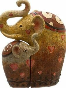 Entwined child parent resin elephant family love birth christening present gift