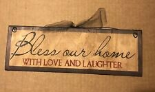 BLESS OUR HOME with love and laughter religious inspirational decor wooden sign