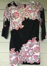 Lilly Pulitzer 100% Cotton 3/4 Sleeve Black Vibrant  Dress Size 4