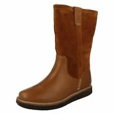GLICK ELMFIELD LADIES CLARKS LEATHER WARM FUR CASUAL PULL ON CALF LENGTH BOOTS