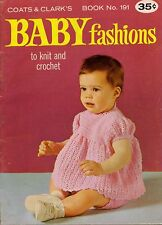 Coats Clark 191 Baby Fashions Knit Crochet Pattern Lace Dress Sailor Collar 1969