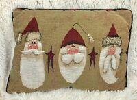 "SANTA Christmas Tapestry Pillow 16""x12"" Throw Decorative Farmhouse Primitive"