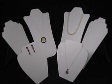 "14"" 6Pc MIX SIZE SET NECKLACE PENDANT EARRING WHITE JEWELRY DISPLAY EASEL PJ90W6"
