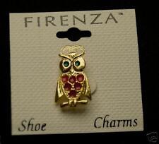 FIRENZA VINTAGE OWL SHOE CHARM GOLD TONE ENAMEL JEWELRY