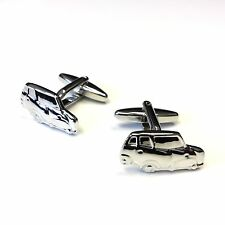 "JustforMoo ""Cars"" Pair of Silver Mini Car Cufflinks (221)"