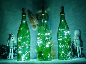 LOT 3 GREEN GLASS BOTTLES WHITE LED CORK LIGHT TABLE LAMP BAR ART HOME DECOR
