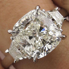Off White 5.12 Ct Genuine Moissanite Engagement Wedding Ring 925 Sterling Silver