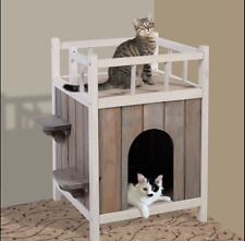 Cat House for Outdoor Cats Condo Pet Raised Shelter Small Dogs Home Furniture