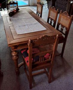 Essgruppe Esstisch Kulissentisch + 6 Stühle Gründerzeit Eiche massiv antik