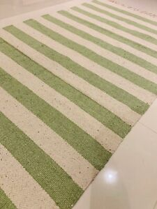 Sea Green Natural Striped Handmade Cotton Rich Reversible Rugs Durrie 90x150cm