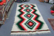 "Turkish Rug Hand Woven Wool Angora Mohair Throw Rug Blanket 49"" x 85"" = 4'X7'"