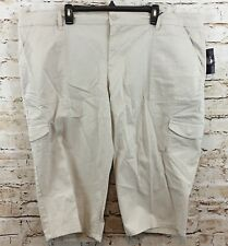 Gloria Vanderbilt capris womens 22W cargo cropped pants khaki tan beige new H6
