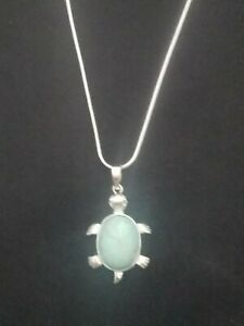Turquoise Turtle Necklace Gemstone Pendant on Sterling Silver Chain