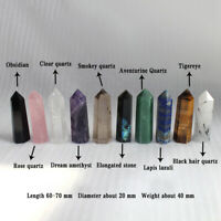 60-70MM Natural Quartz Crystal Point Healing Obelisk Hexagonal Wand Reiki