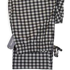 Nautica Men's Lounge/Pajama Pant Gingham Plaid Soft Fleece Gray/Black Size Med