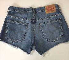 "Levi's Cut Off Womens Shorts Sz 32 Distressed Zipper Fly Blue Cotton 2.5"" inseam"
